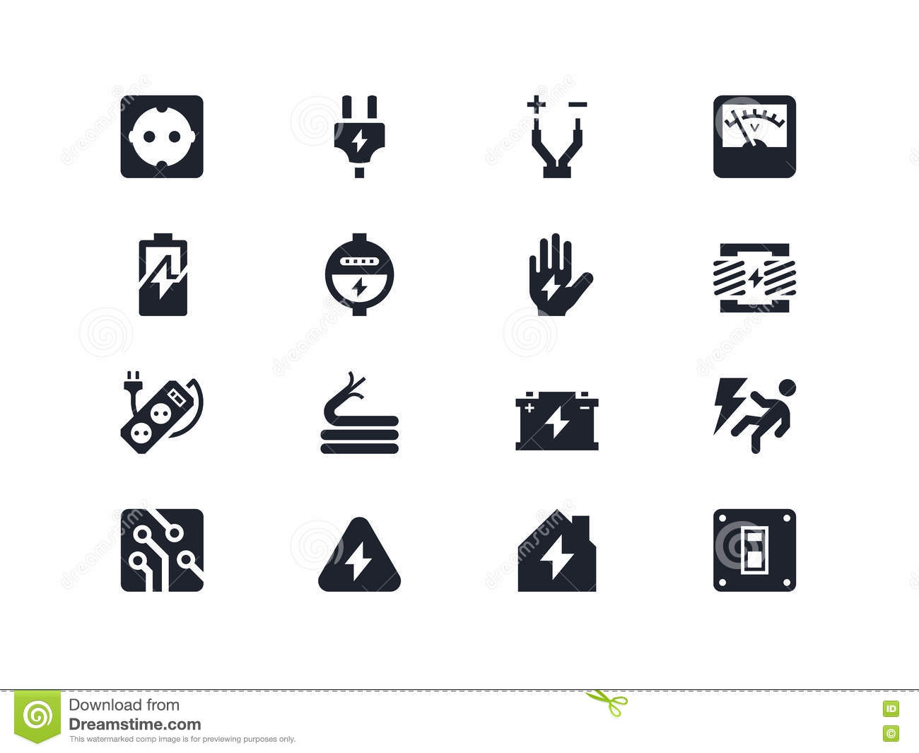 Electricity Icons Lyra Series Stock Vector