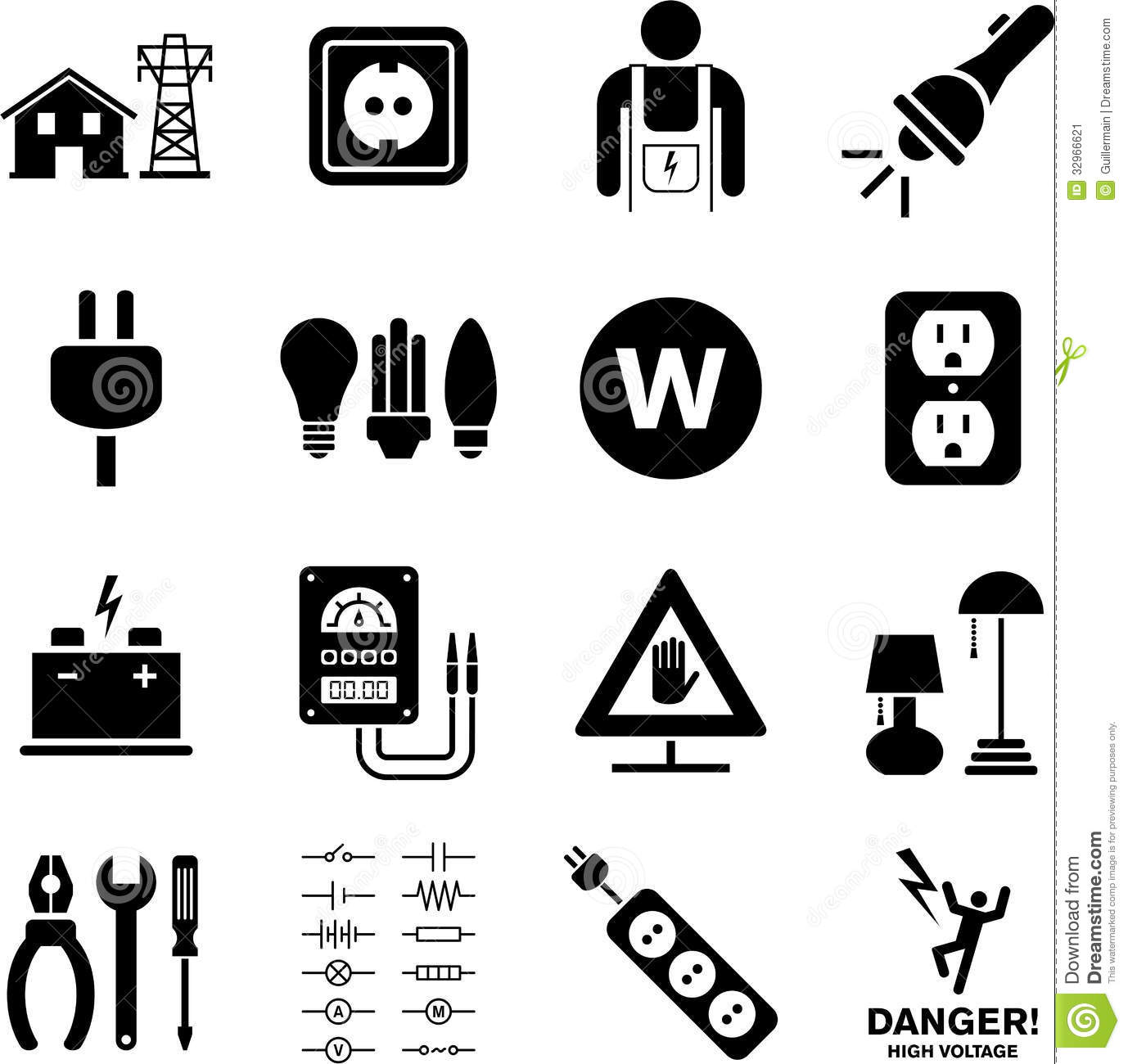 Electricity Icons Stock Image
