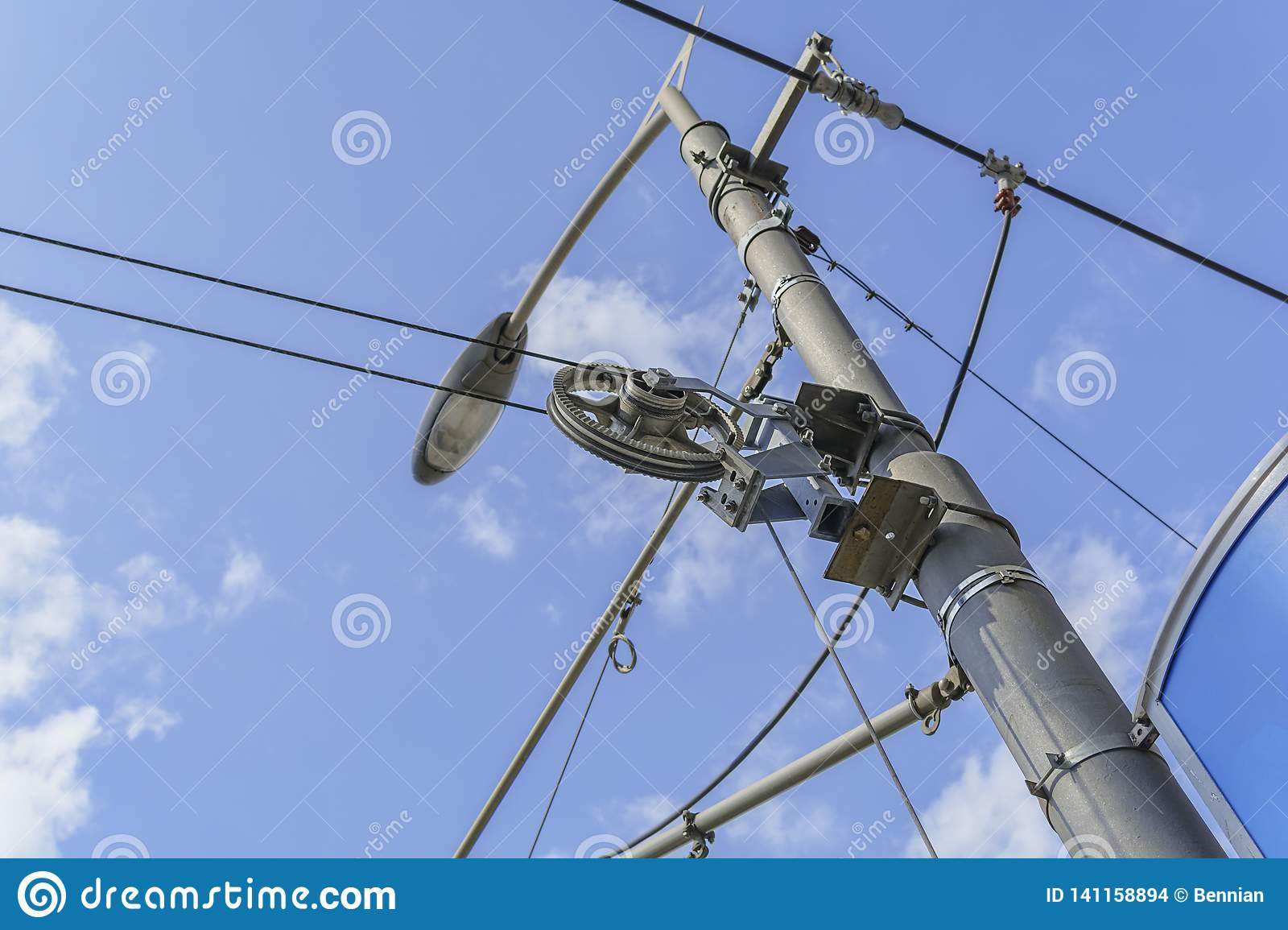 hight resolution of electricity pole and street light complicated wiring on the lamppost with sky background