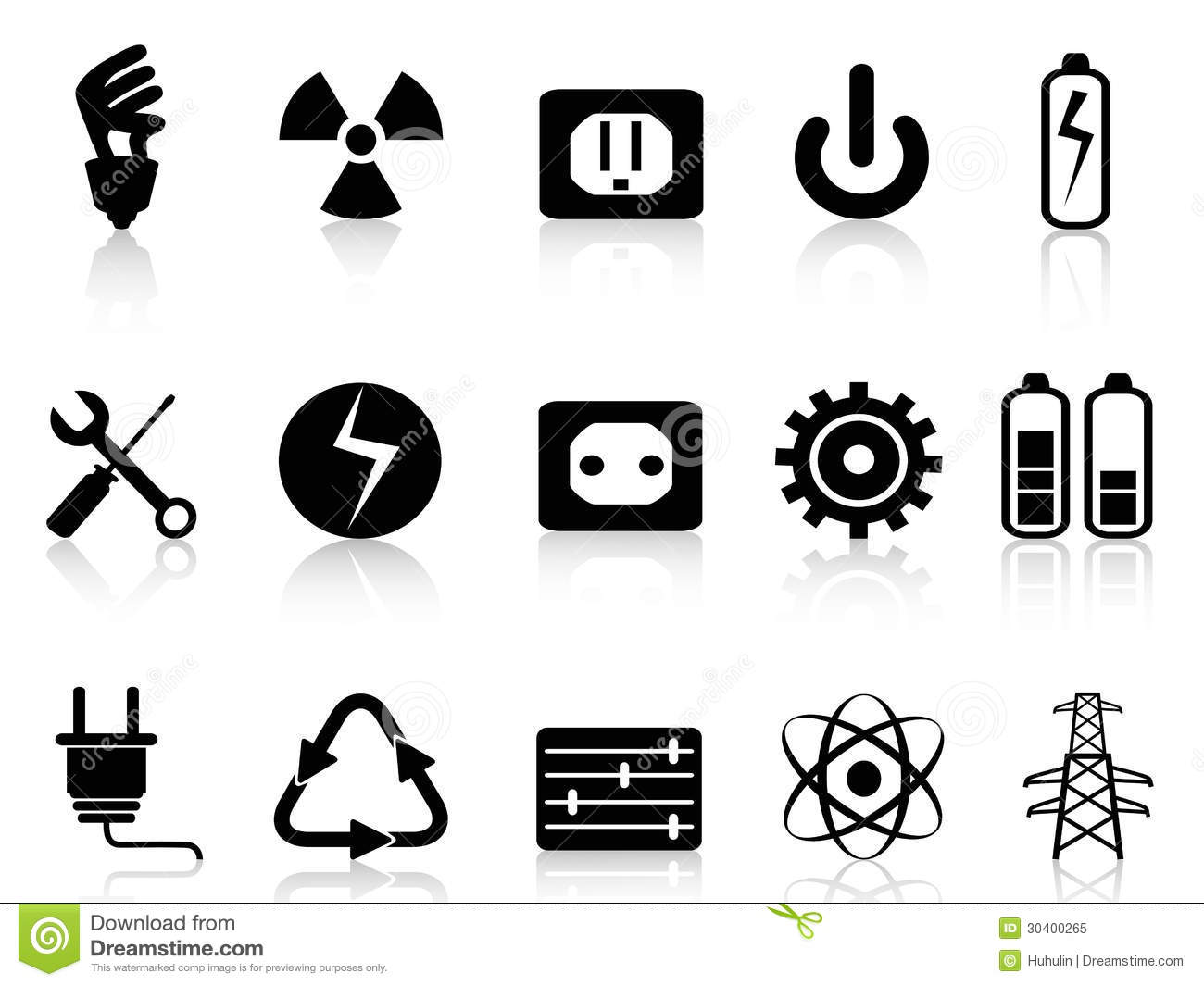 Electricity And Power Icons Set Royalty Free Stock Photo