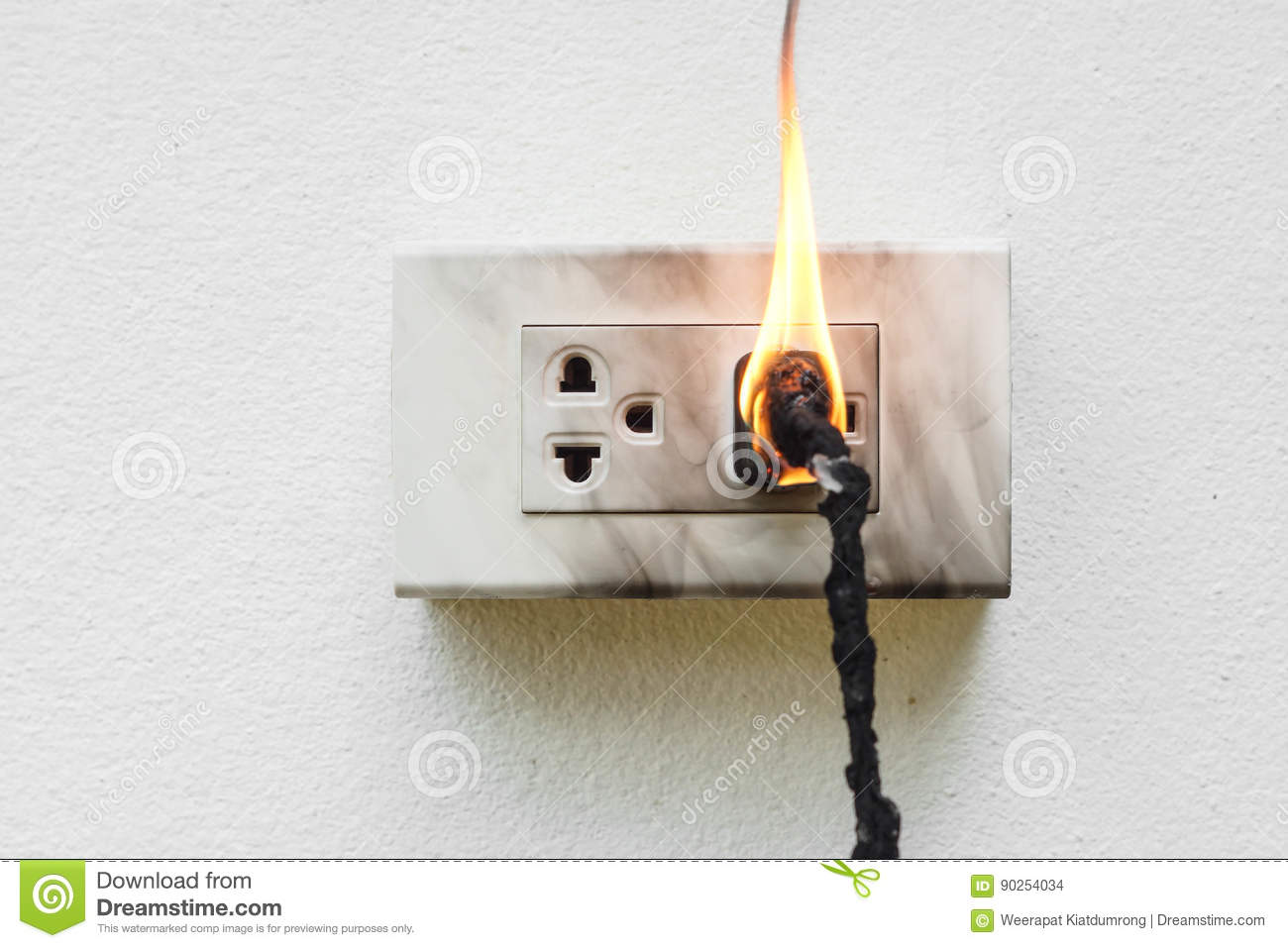 hight resolution of electricity short circuit electrical failure resulting in electricity wire burnt