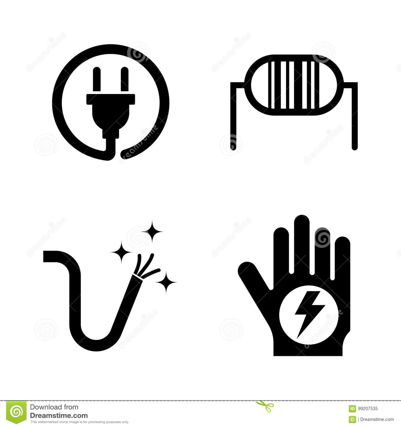 Electricity Simple Related Vector Icons Stock Vector