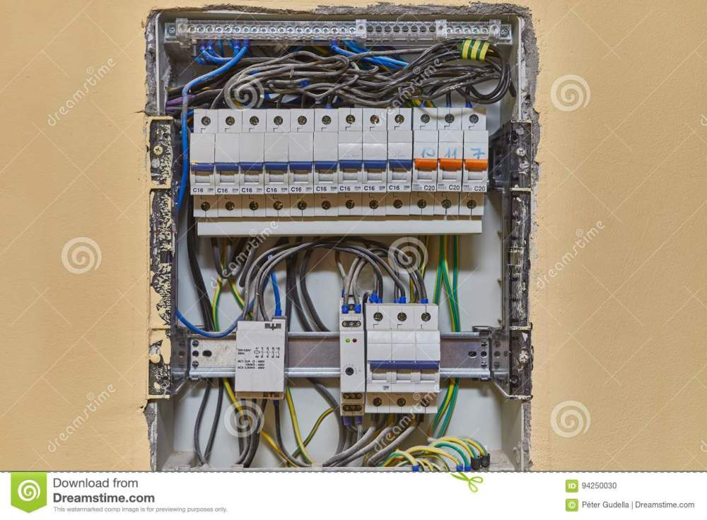 medium resolution of electric wiring and fusebox in a house