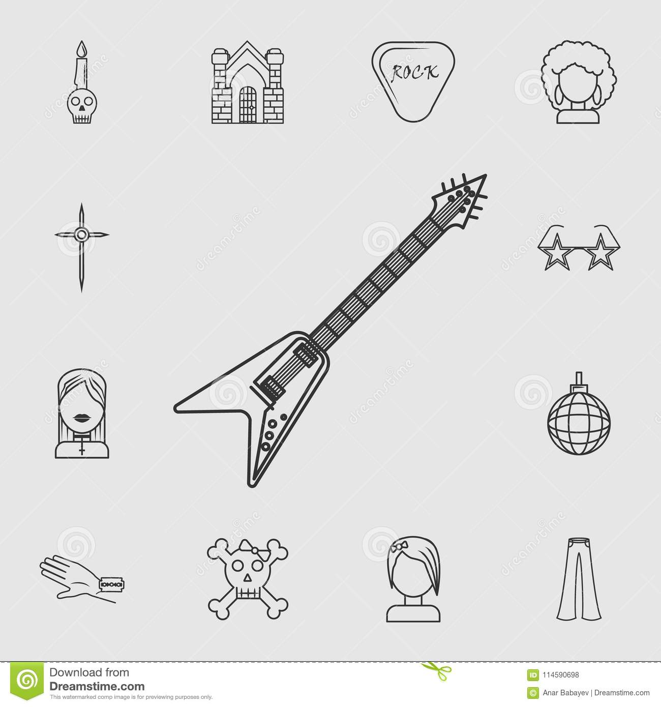 Electric Guitar On Grey Background Stock Image