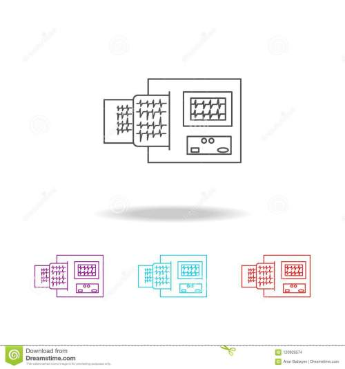 small resolution of electrocardiogram device and heart pulse on list line icon elements of medical tools in multi colored icons premium quality graphic design icon