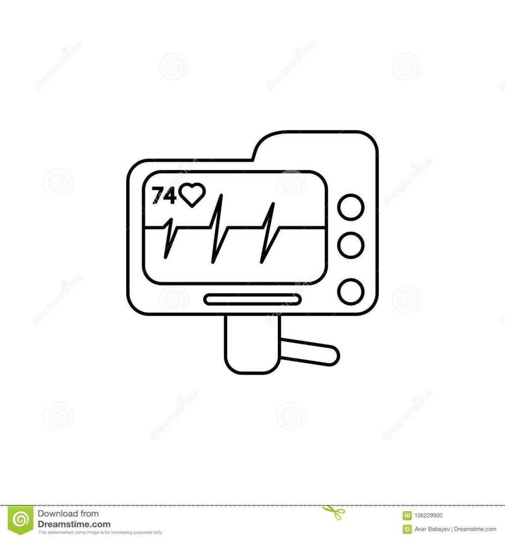medium resolution of electrocardiogram device and heart pulse on screen line icon element of medecine tools icon premium quality graphic design
