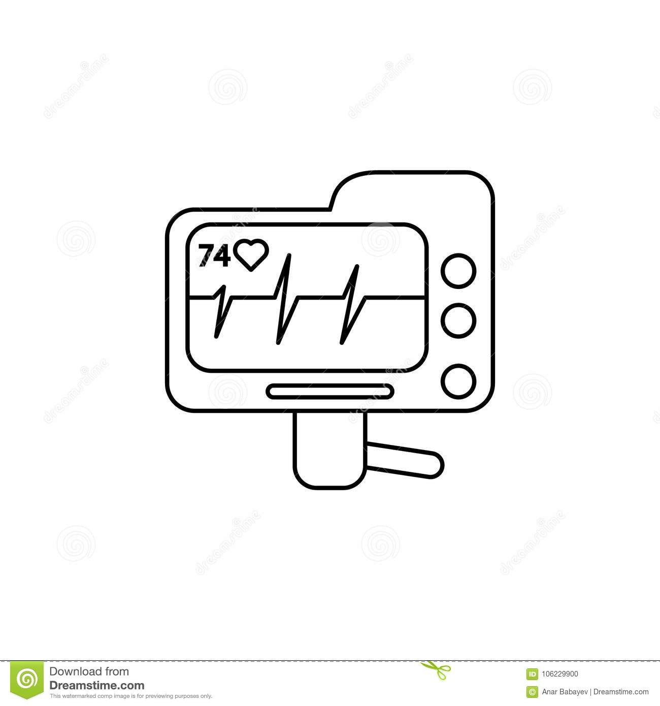 hight resolution of electrocardiogram device and heart pulse on screen line icon element of medecine tools icon premium quality graphic design