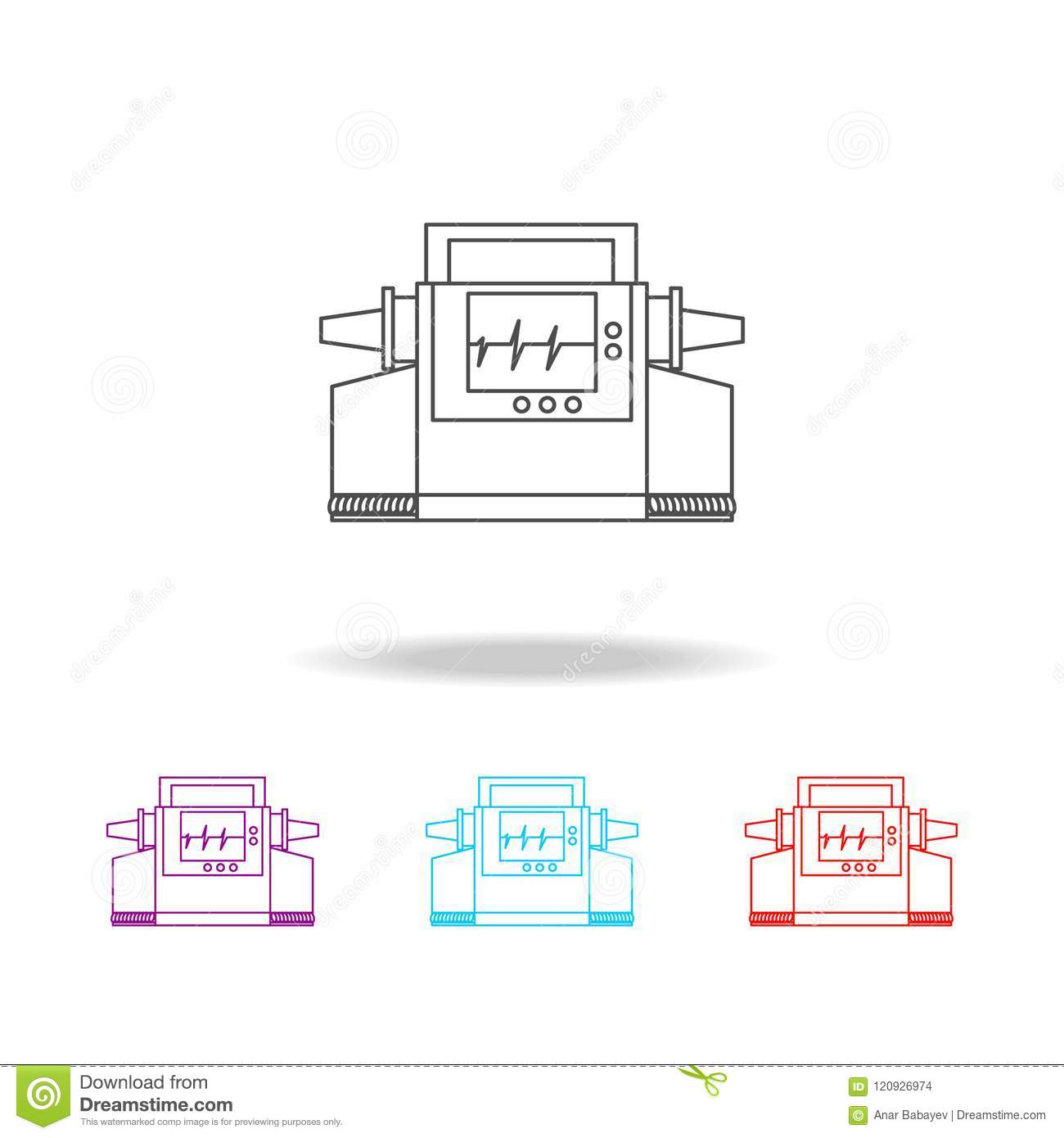 hight resolution of electrocardiogram device and heart pulse on screen line icon elements of medical tools in multi colored icons premium quality graphic design icon