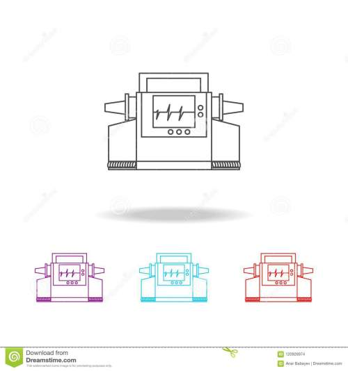 small resolution of electrocardiogram device and heart pulse on screen line icon elements of medical tools in multi colored icons premium quality graphic design icon