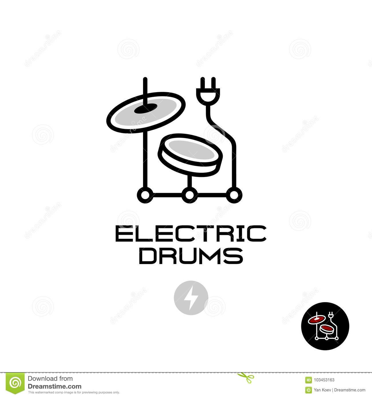 Drums Icon, Outline Style Vector Illustration