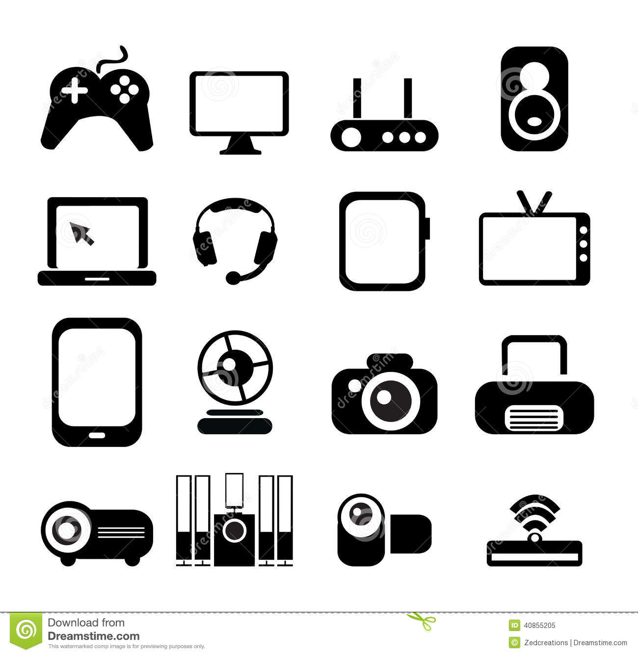 Electronic Icon Set Stock Vector