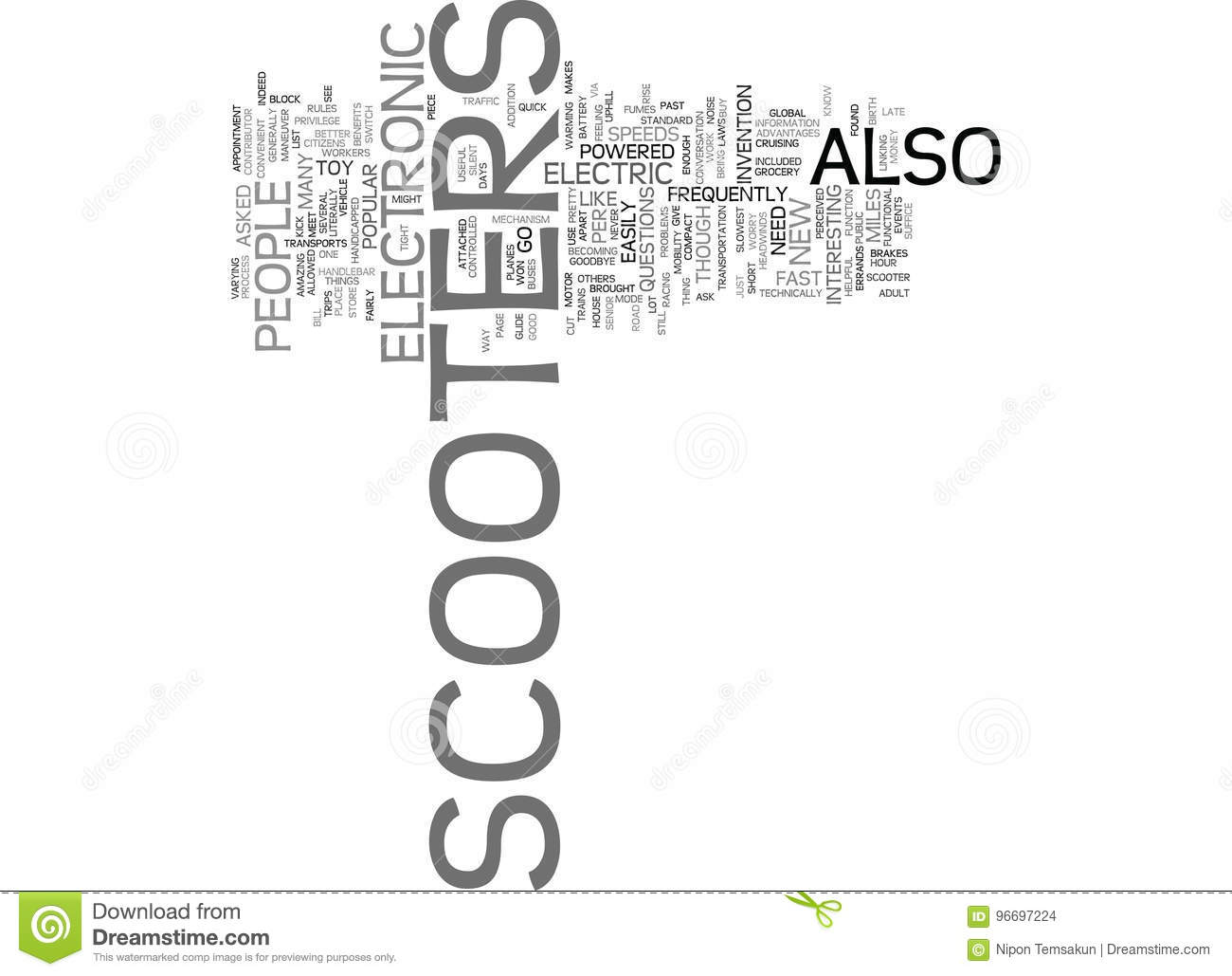Electronic Scooter Faq Word Cloud Concept Stock Vector