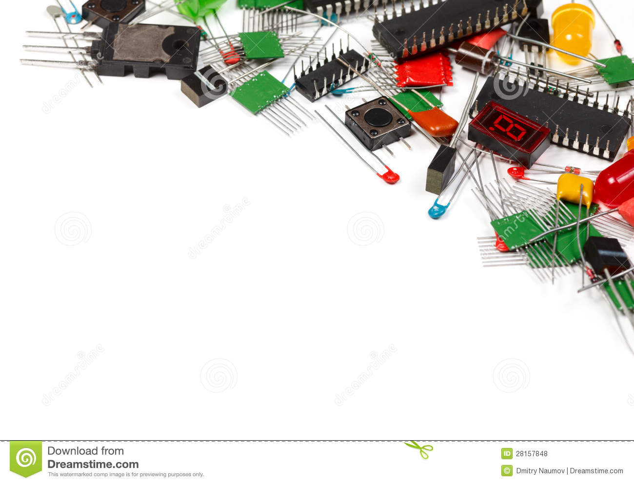 Electronic Components On A Schematic Diagram Background Stock Photo