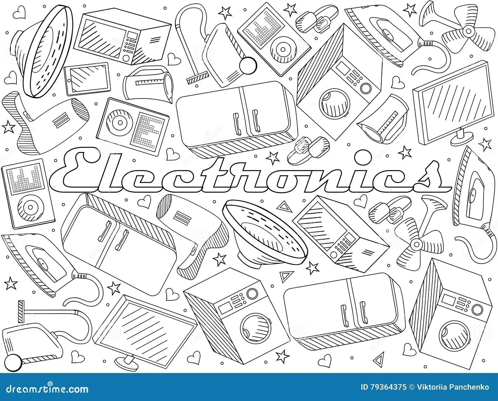 Electronics Line Art Design Vector Illustration Stock