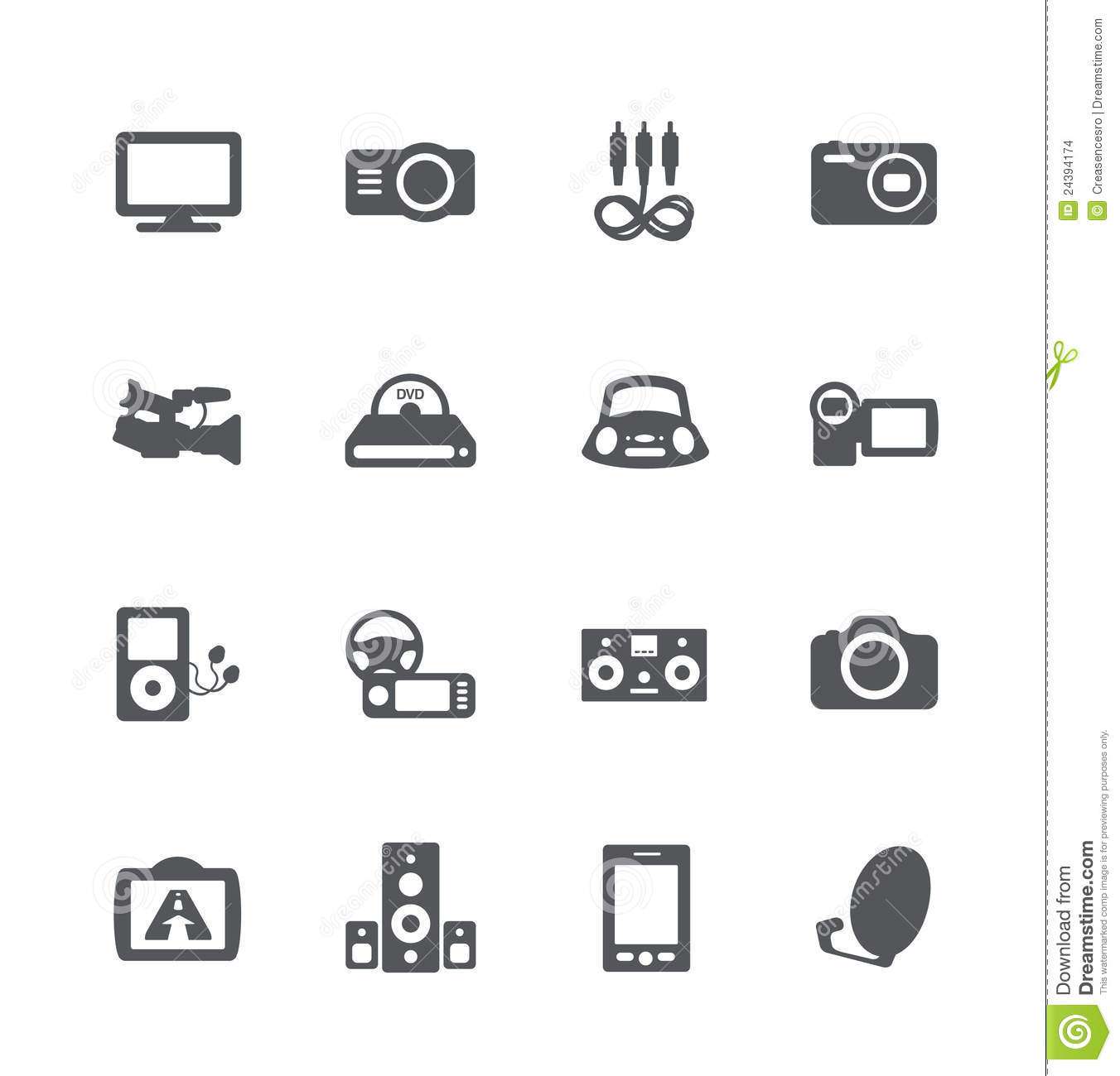 Electronics Simple Icons Set Stock Vector
