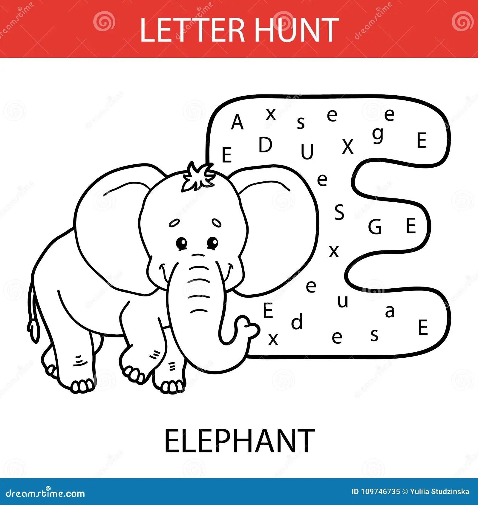 Elefante Animal De La Caza De La Letra Ilustracion Del