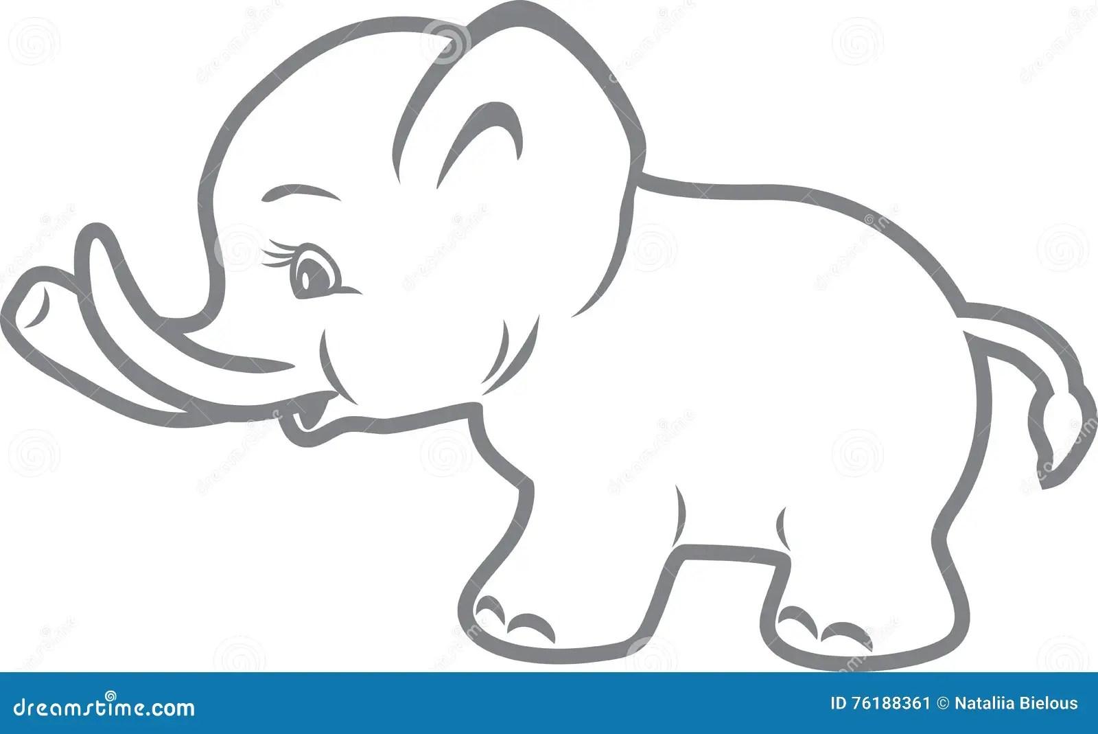 Elefante Del Bambino Disegno Di Profilo Illustrazione