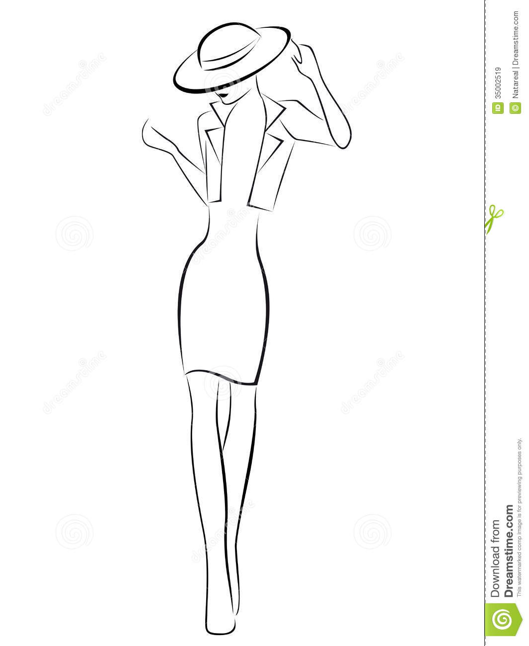 Elegance Young Woman In Hat Stock Vector