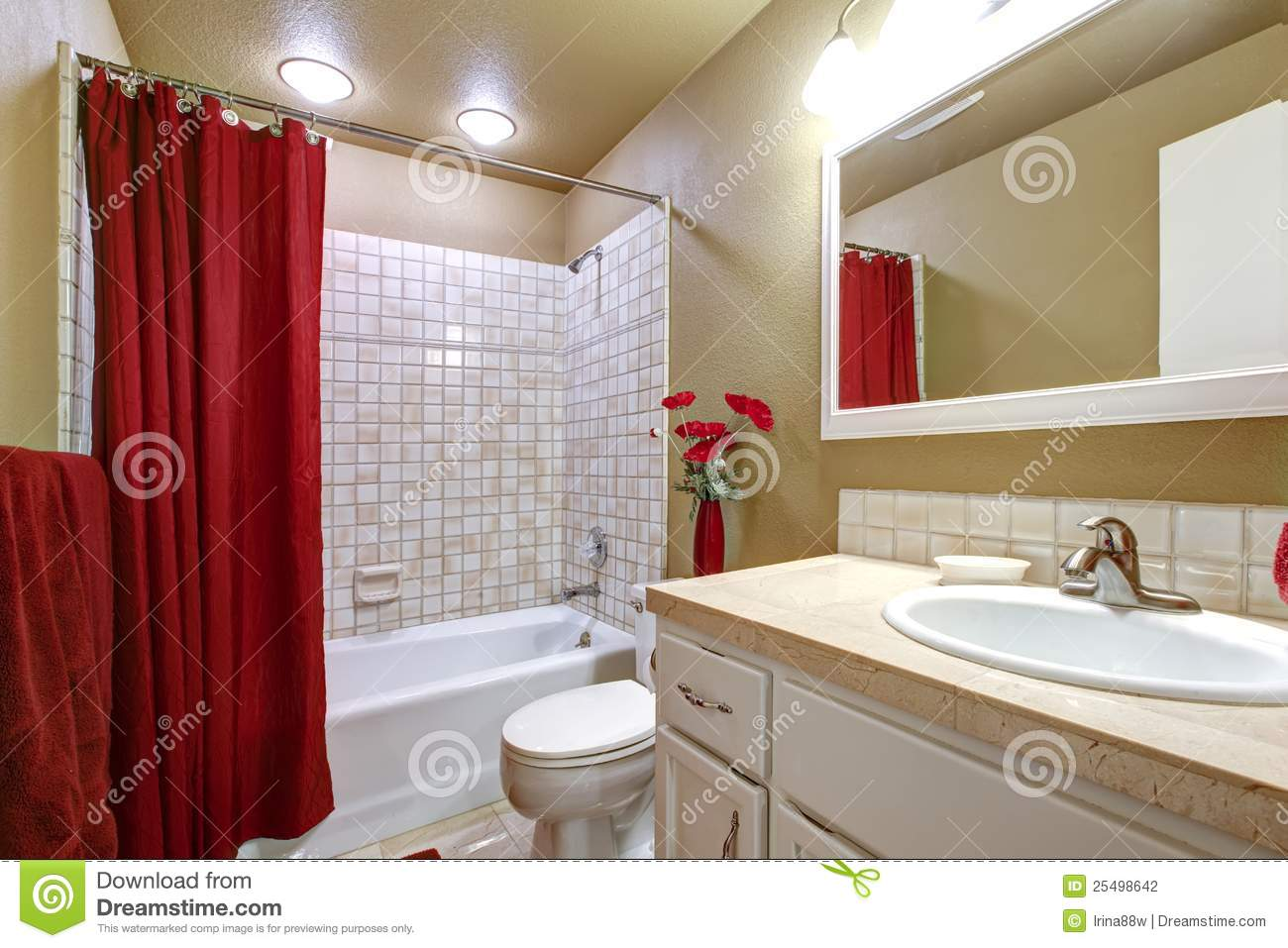 Elegant Beige And Red Bathroom With Tub And Sink Stock