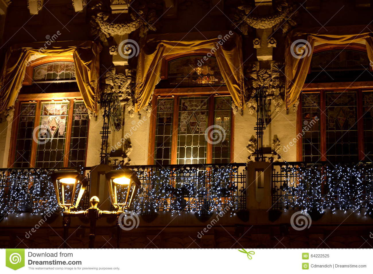 Elegant Building Dressed For Christmas Stock Image  Image