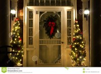 Elegant Christmas Doorway At Night Stock Image - Image ...
