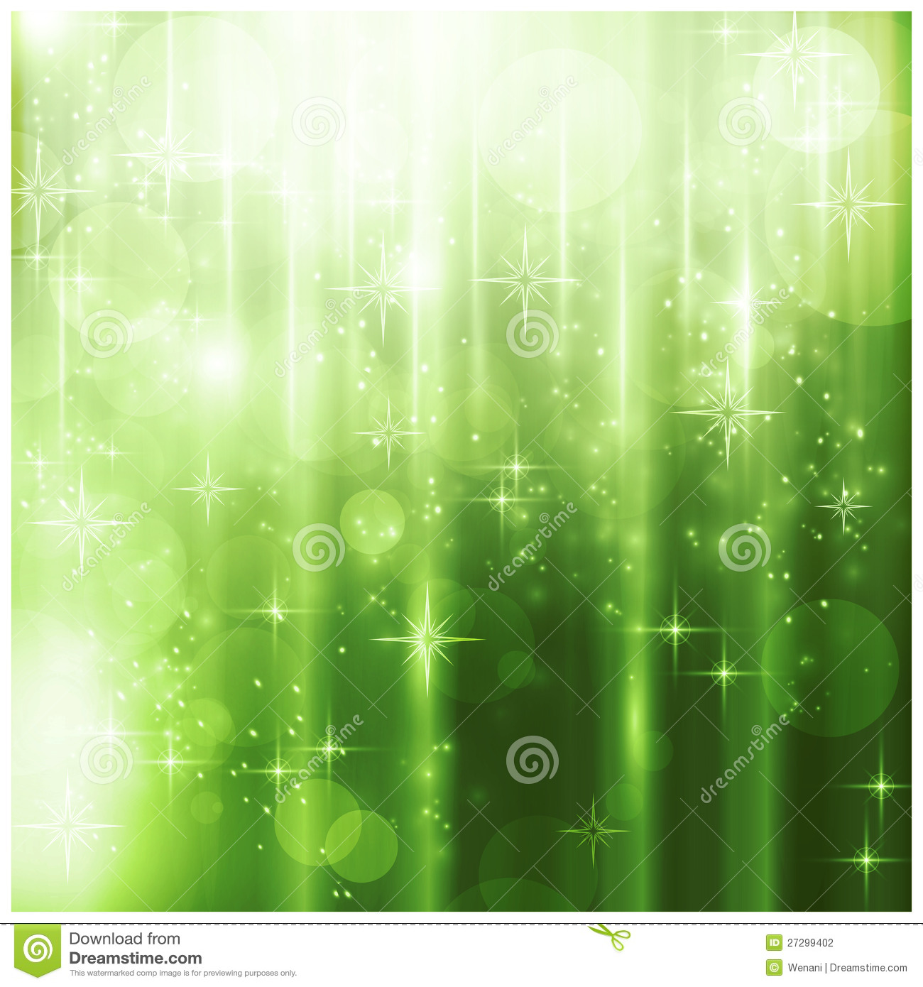 Elegant Green Christmas Card With Sparkling Lights Stock