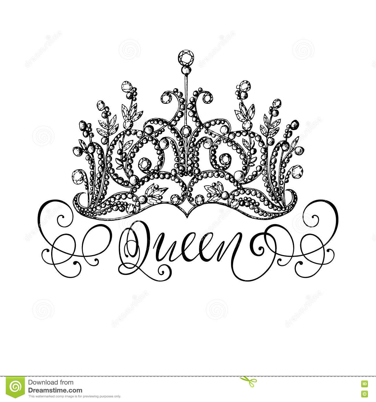 Elegant Hand Drawn Queen Crown With Lettering Stock