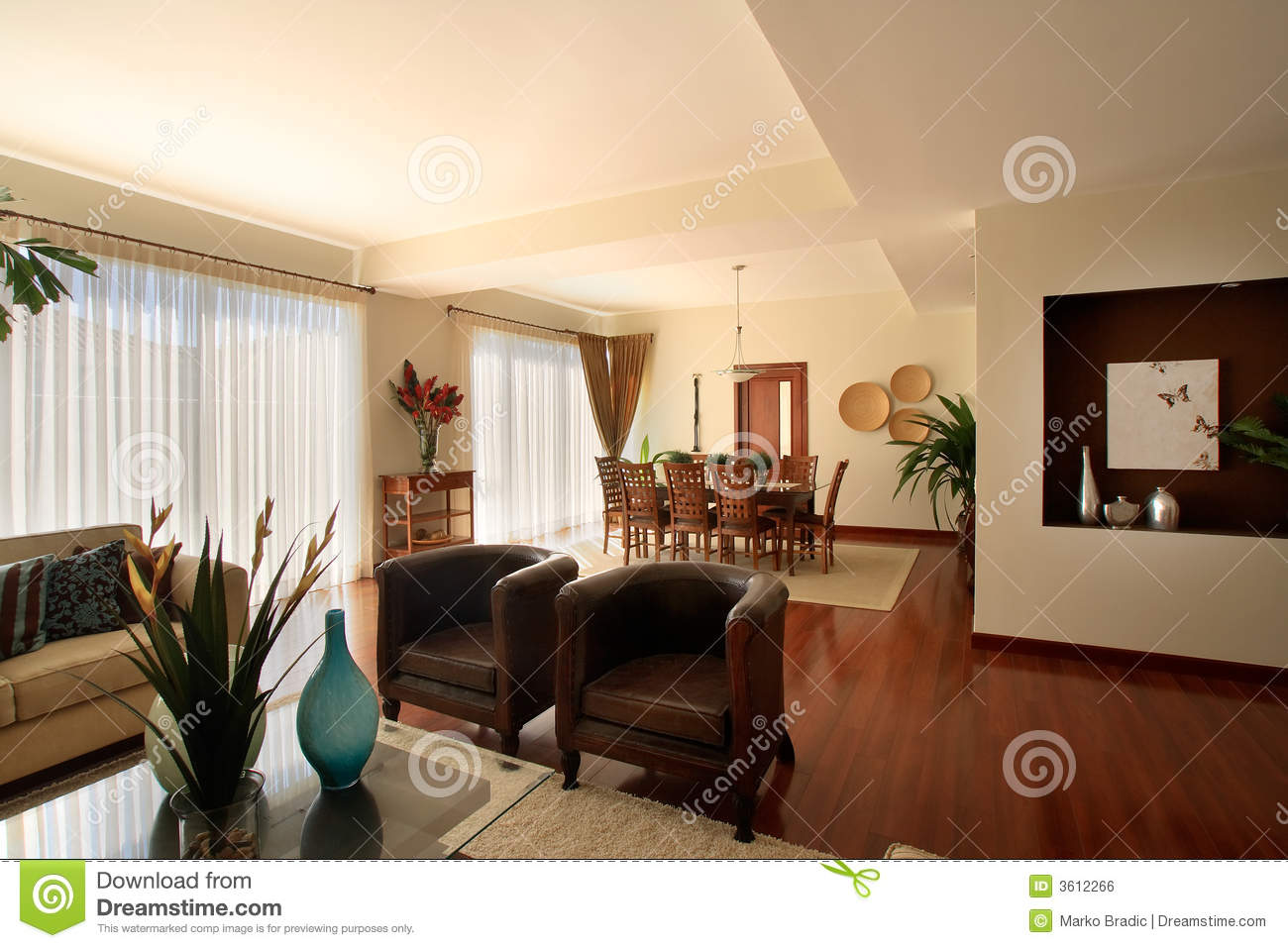 Elegant Home Living Room With Dining Area Royalty Free