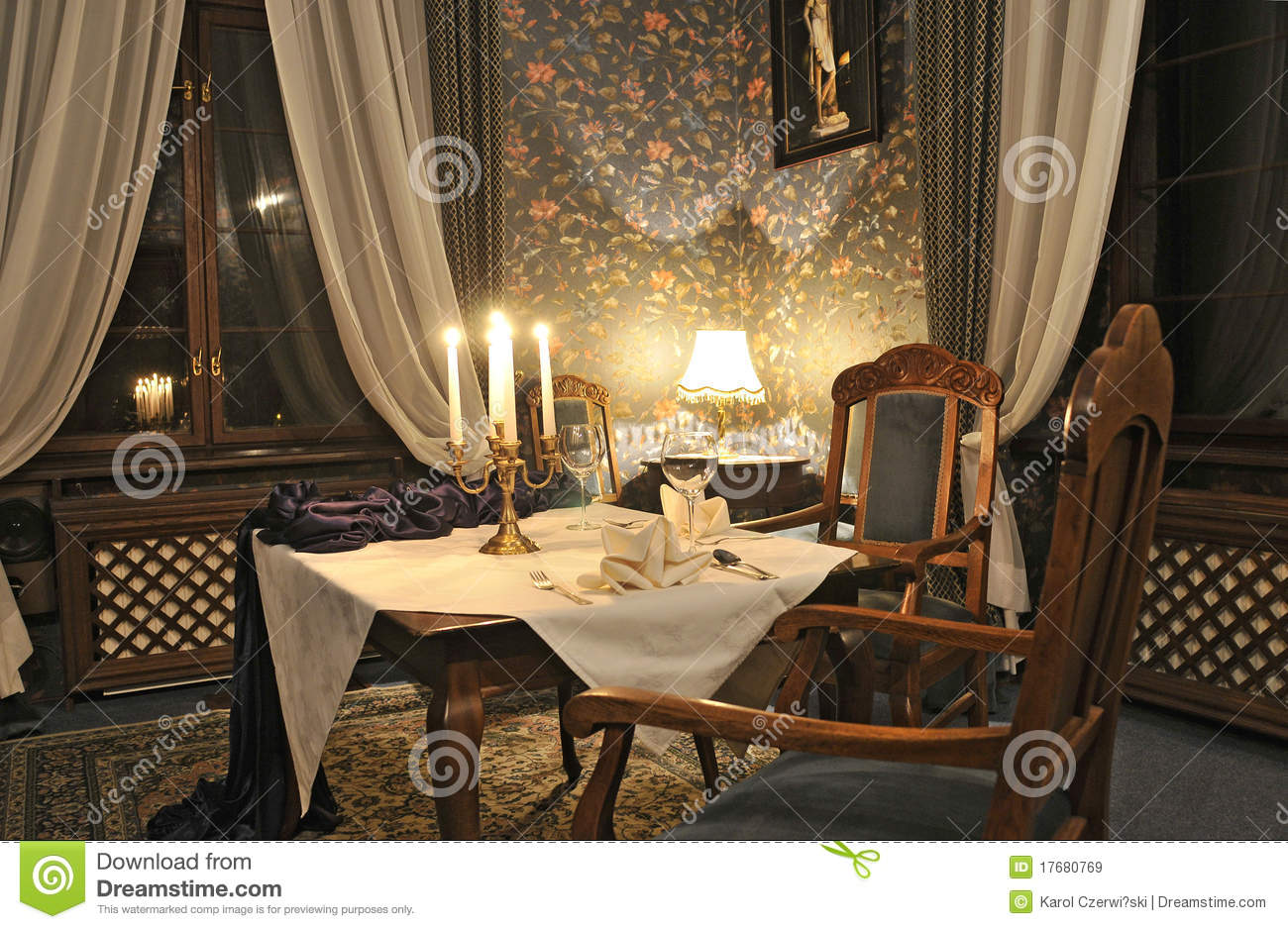 Elegant Living Room With Candle On The Table Stock Image