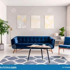 Dark Blue Sofa Living Room Red And Cream Ideas Elegant Interior With A Set Of Armchair Gold