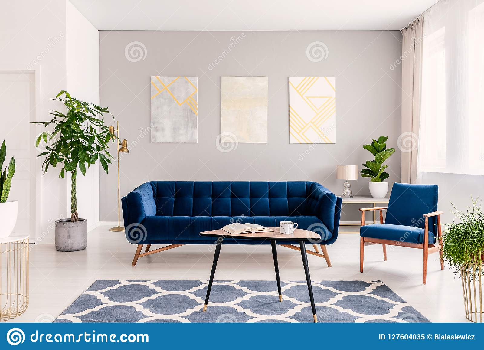 sofas dark blue large sectional sofa covers elegant living room interior with a set of and armchair gold