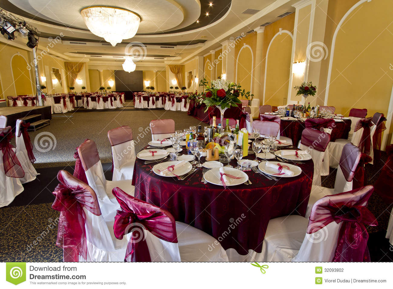 chairs for party hall wedding chair covers with sashes elegant stock photo image of chandelier