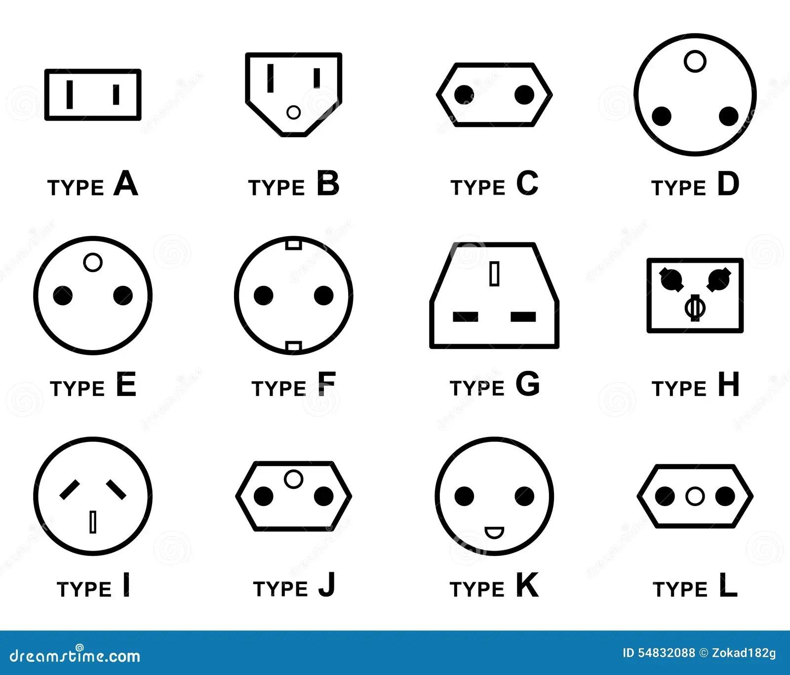 Elektrische Stecker-Arten vektor abbildung. Illustration