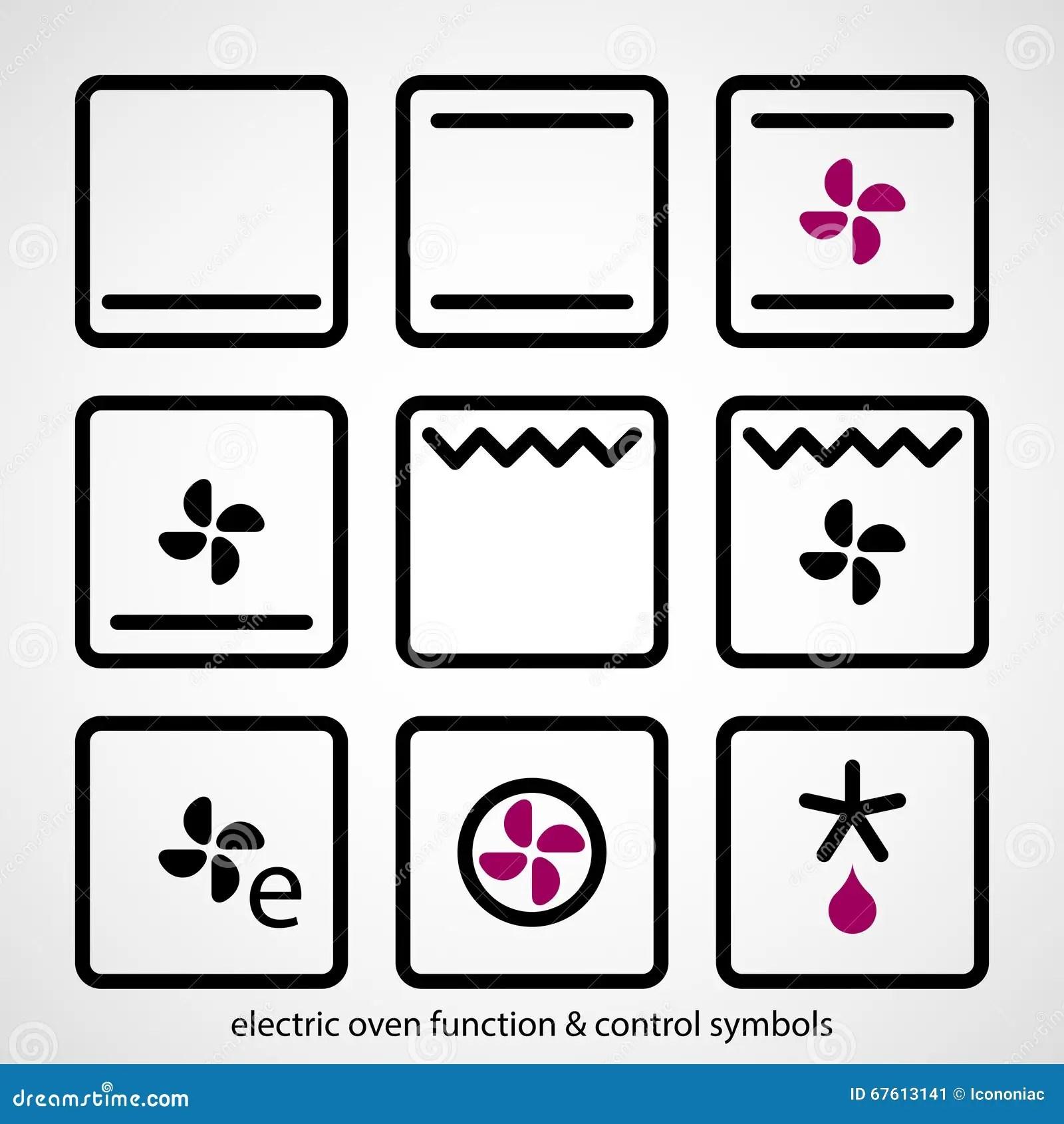 Elektrische Van De Ovenfunctie Amp Controle Symbolen Vector