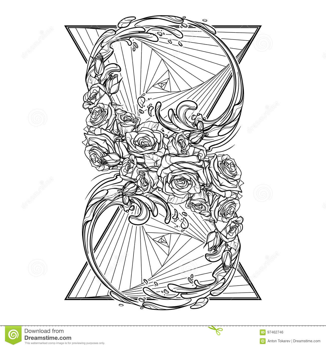 Element Of Water Bw Stock Vector Illustration Of Ancient