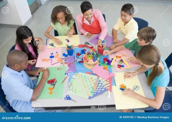 Elementary School Art Lesson Stock