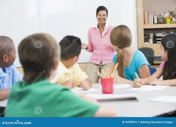Elementary School Classroom With Teacher Royalty Free