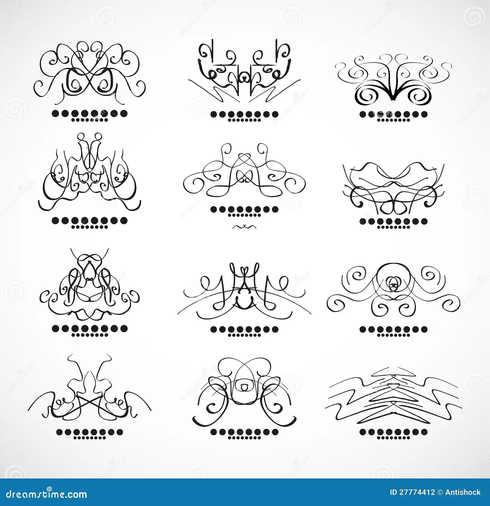 Elementi Calligrafici Della Decorazione Per Il Titolo
