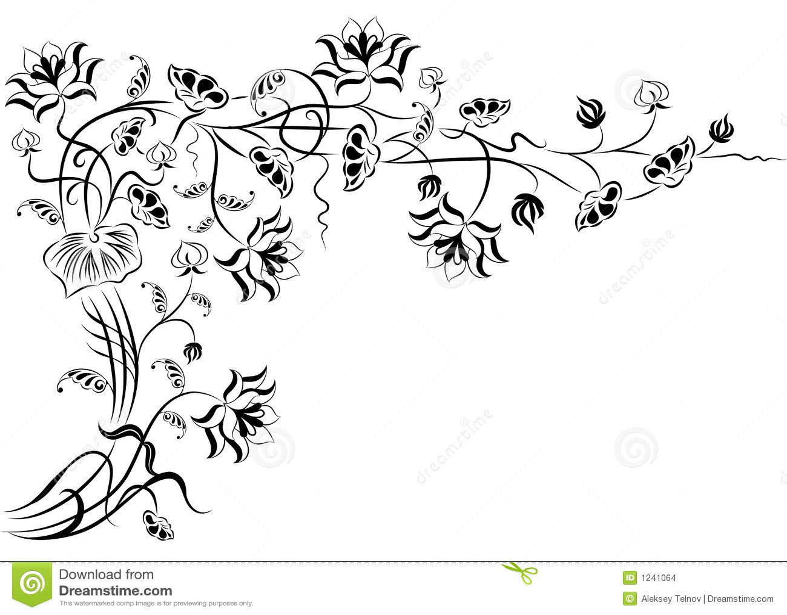Elemento Para O Projeto Flor De Canto Vetor Ilustracao