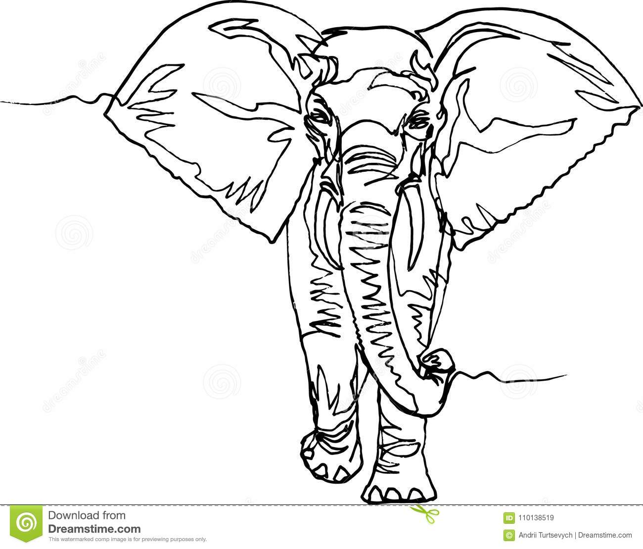 Elephant. Africa, Continuous Line. Stock Vector