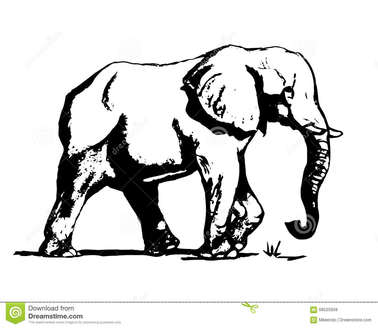 Elephant In Black And White 01 Stock Vector
