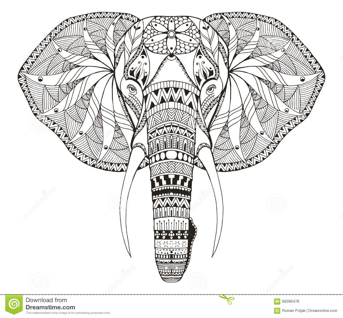 Elephant Head Zentangle Stylized Vector Illustration