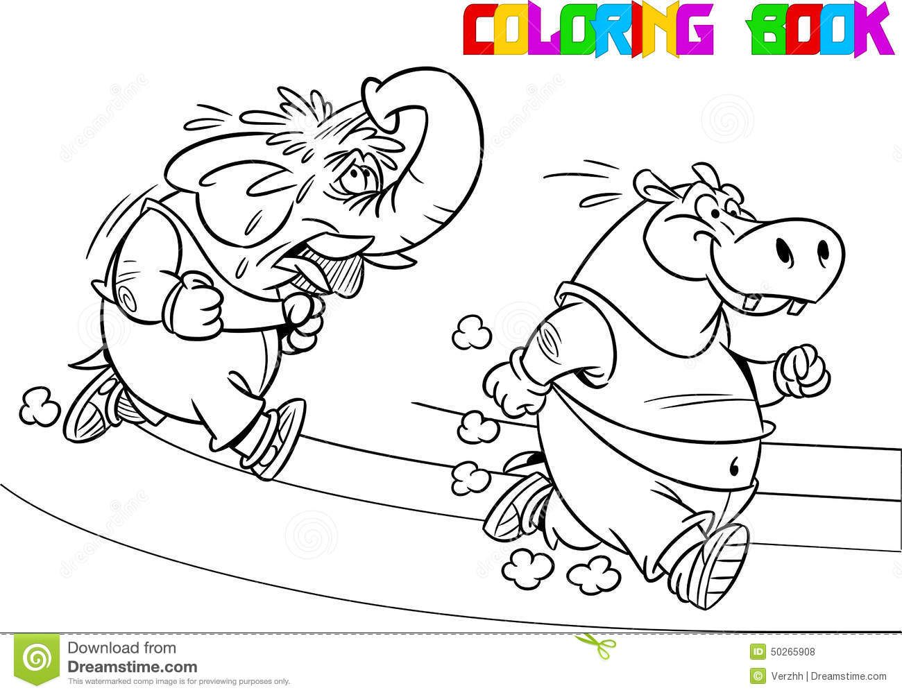 Elephant And Hippopotamus On A Treadmill Stock Vector