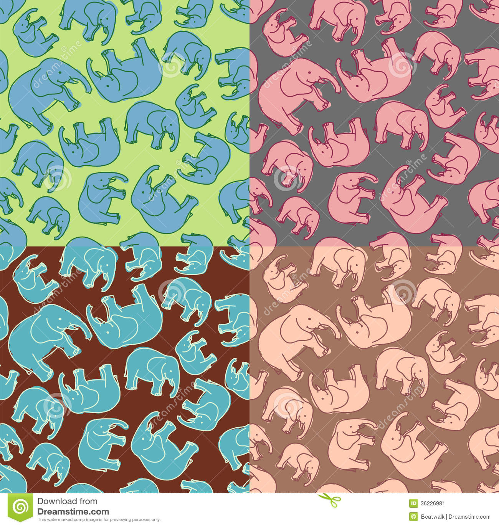 Cute Baby Girl Child Wallpaper Elephant Pattern Stock Image Image 36226981