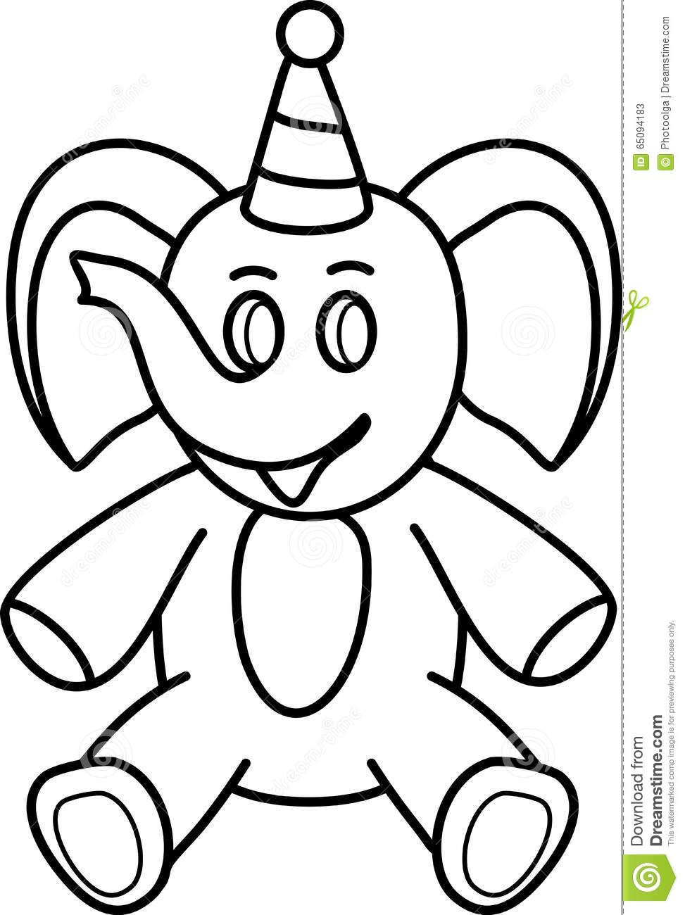 Elephant. Simple Line Drawing Toys Stock Vector