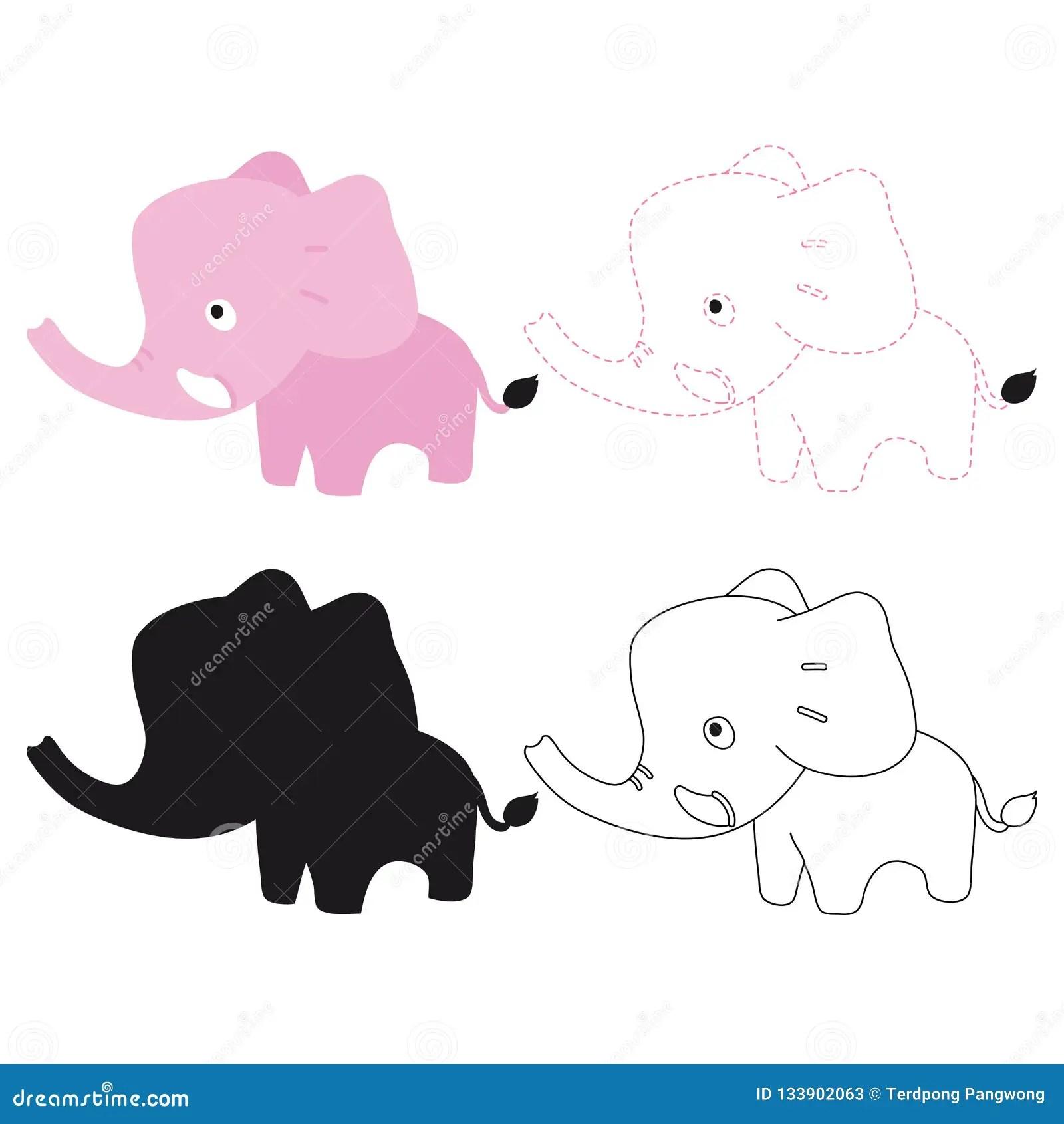 Elephant Worksheet Vector Design Stock Vector