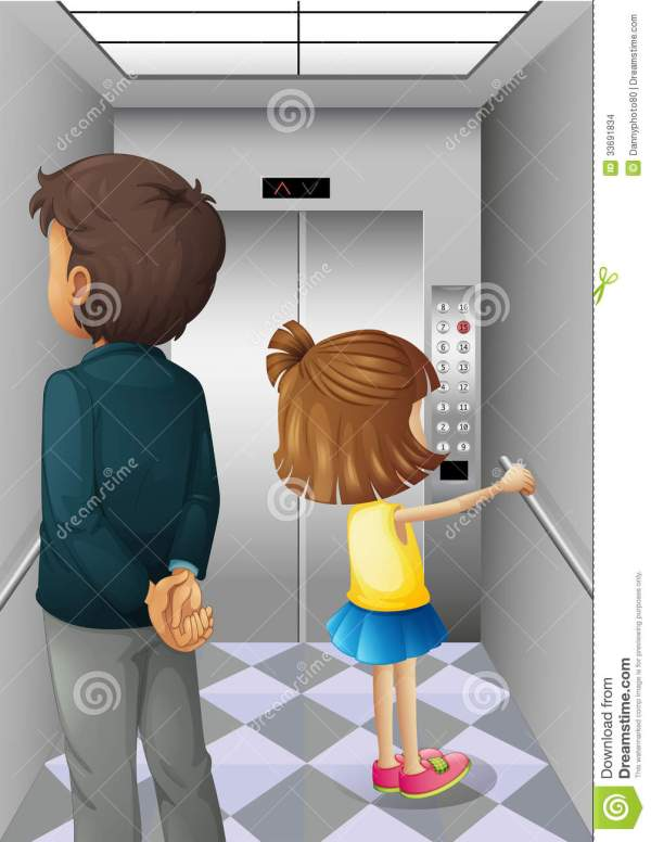 Elevator With Man And Young Girl Stock Illustration