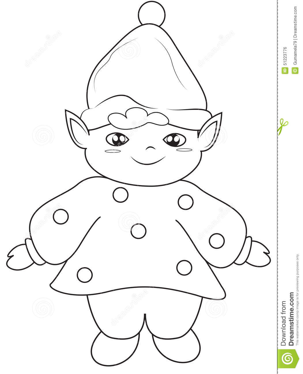 Elf Coloring Page Stock Illustration