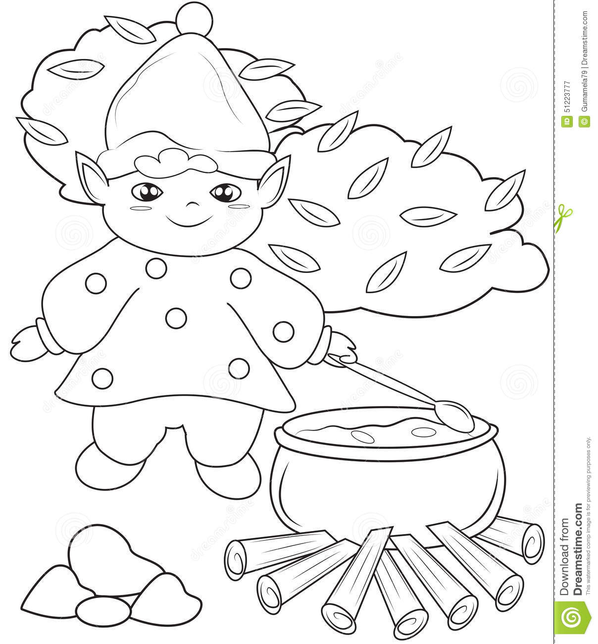 Elf Cooking Coloring Page Stock Illustration