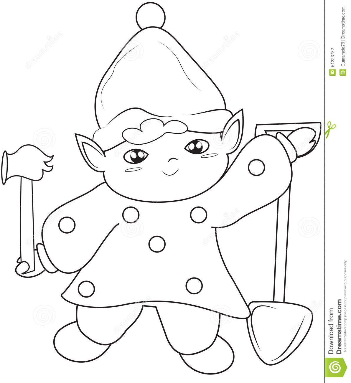 Elf With Shovel And Hammer Coloring Page Stock